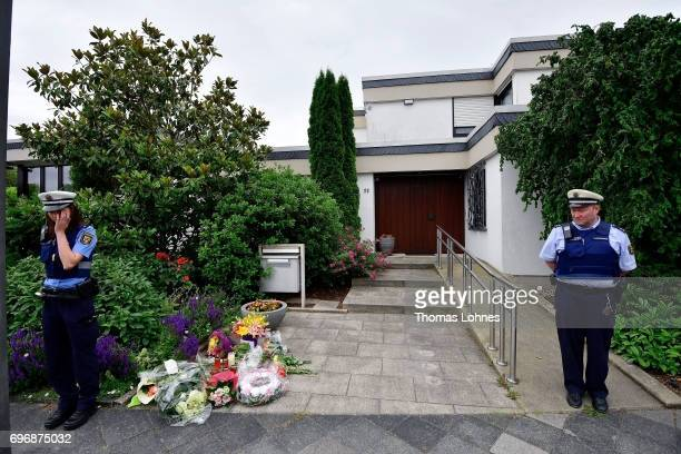 Police officers stand in front of the home of former German Chancellor Helmut Kohl in Oggersheim district on June 17 2017 in Ludwigshafen Germany...
