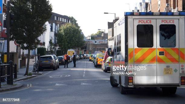 Police officers take security measures after an explosion at Parsons Green Tube Station in London United Kingdom on September 15 2017 Emergency...