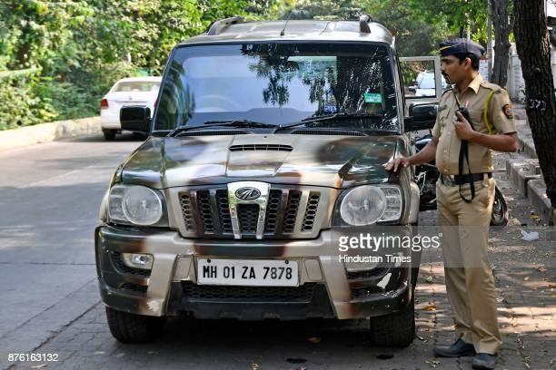 Police official guard filmmaker Sanjay Leela Bhansali's house at Nana Nani Chawk in Versova on November 16 2017 in Mumbai India Sanjay Leela...