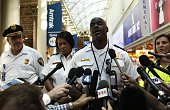 Police officials address the media at Union Station in Washington DC after responding to a shooting inside the station on September 11 2015 City...
