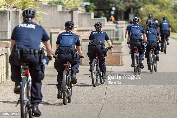Police on bike patrol at Southbank near the Brisbane River ahead of the G20 Leader's Summit on November 10 2014 in Brisbane Australia The G20 summit...