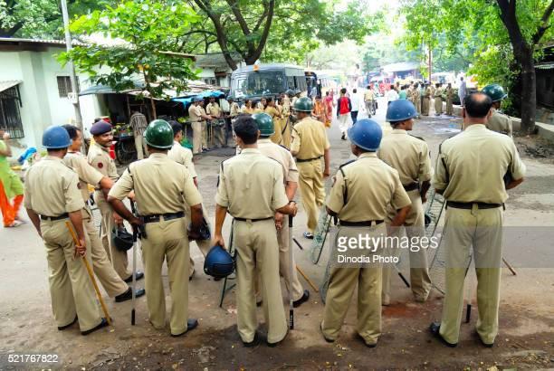 Police on guard at, Mulund, Bombay, Mumbai, Maharashtra, India