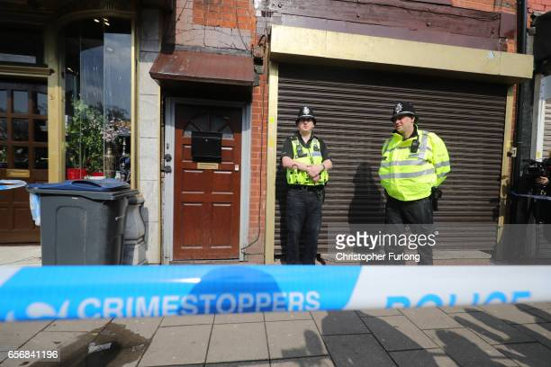 Police on guard outside the flat above Shiraz Restaurant in Hagley Road Birmingham which was raided by antiterror police in connection with the...