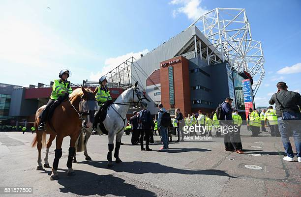 Police on horseback patrol outside after the game was abandoned with fans evacuated from the ground prior to the Barclays Premier League match...