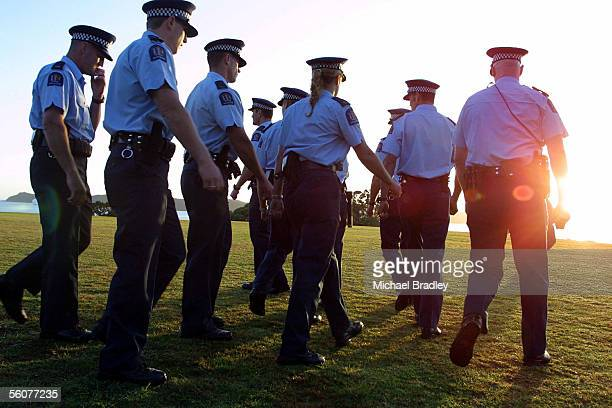 Police out in force at dawn prior to the Waitangi celebrations beginning today Wednesday