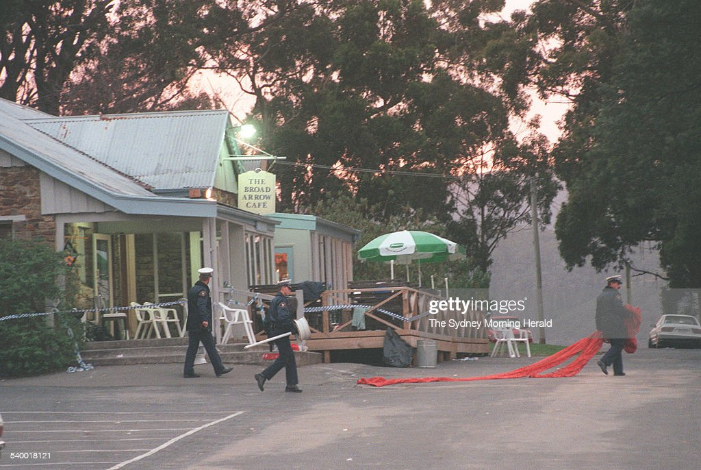 Police outside Broad Arrow Cafe after gunman Martin Bryant shot and killed 35 people during the Port Arthur massacre, 2 May 1996. SMH Picture by DALLAS
