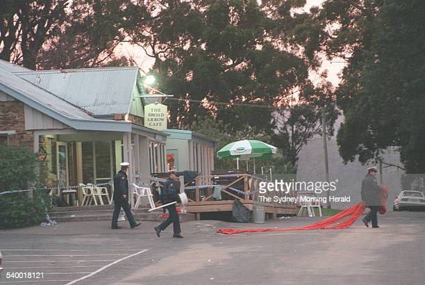 Police outside Broad Arrow Cafe after gunman Martin Bryant shot and killed 35 people during the Port Arthur massacre 2 May 1996 SMH Picture by DALLAS...