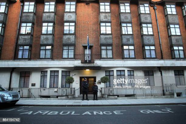 Police outside King Edward VII's Hospital central London as Queen Elizabeth II recovers after being admitted with symptoms of gastroenteritis