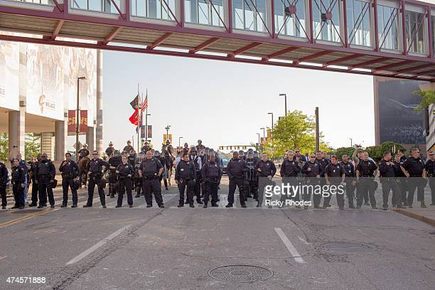 Police outside of The Q Arena People take to the streets and protest in reaction to Cleveland police officer Michael Brelo being acquitted of...
