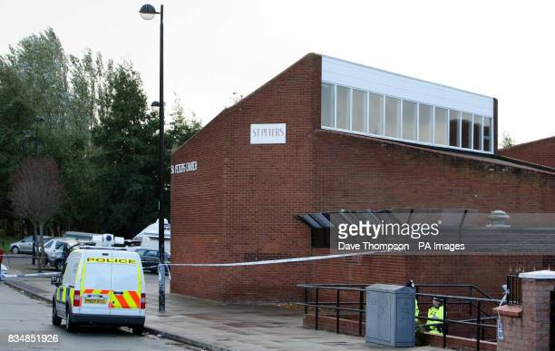 Police outside St Peter's Church Everton where a 16 yearold boy died after being stabbed outside the Shrewsbury House Youth Club which is attached to...