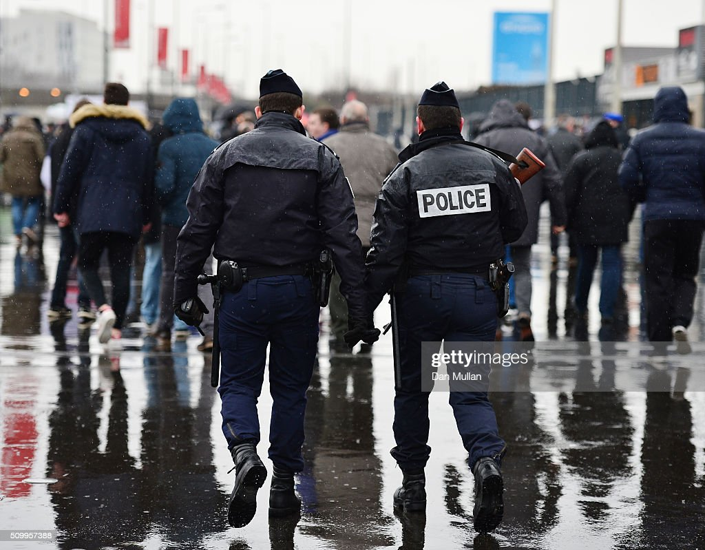 Police patol the stadium prior to kickoff during the RBS Six Nations match between France and Ireland at the Stade de France on February 13, 2016 in Paris, France.