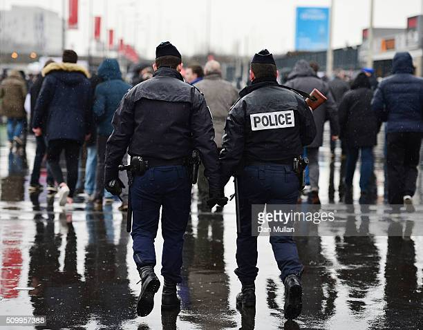 Police patol the stadium prior to kickoff during the RBS Six Nations match between France and Ireland at the Stade de France on February 13 2016 in...