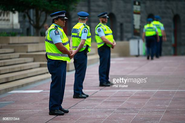 Police patrol Aotea Square ahead of the TPP signing on February 4 2016 in Auckland New Zealand The signing ceremony marks the end of the TPP...