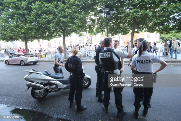PARIS FRANCE JUNE 08 Police patrol during the 29th Annual Diner En Blanc at the Paris City Hall Square on June 8 2017 in Paris France The Diner En...