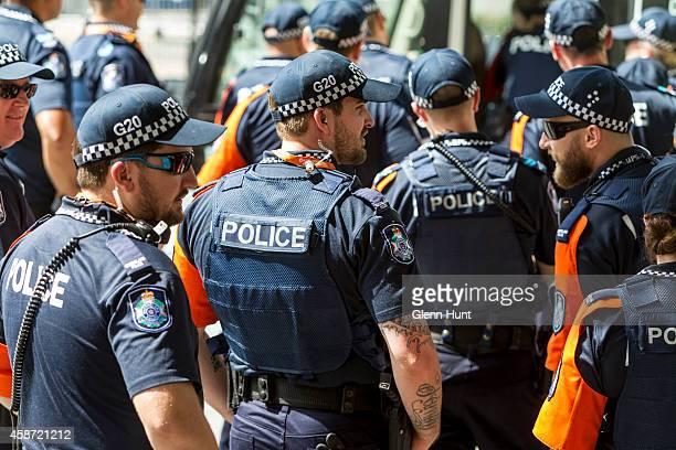 Police patrol in the Brisbane CBD ahead of the G20 Leader's Summit on November 10 2014 in Brisbane Australia The G20 summit will be held November 15...