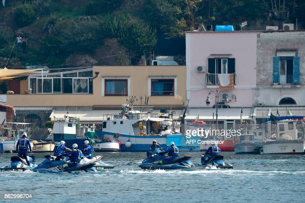 Police patrol in the port of Italian island Ischia on October 19 2017 before the start the G7 summit of Interior Ministers with European Union...