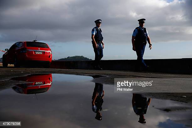 Police patrol Mission Bay Beach after a mans body was found washed up on May 13 2015 in Auckland New Zealand Auckland City Police have confirmed it...