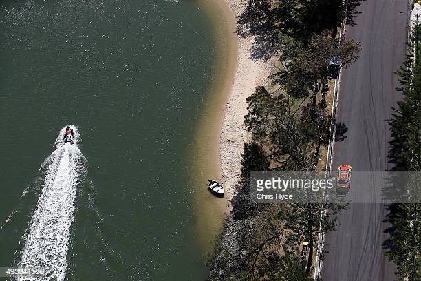 Police patrol on a jet ski during practice for the Gold Coast 600 which is part of the V8 Supercars Championship at the Surfers Paradise Street...