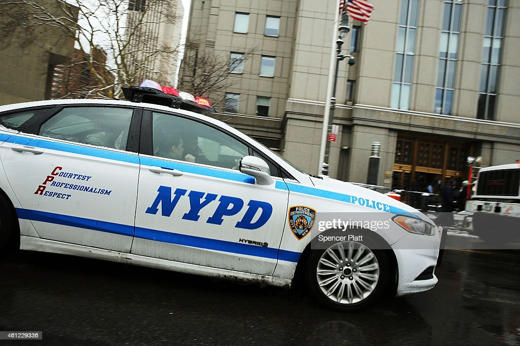 Police patrol outside of a Manhattan court house for the sentencing of convicted terrorist Mustafa Kamel Mustafa on January 9 2015 in New York City...