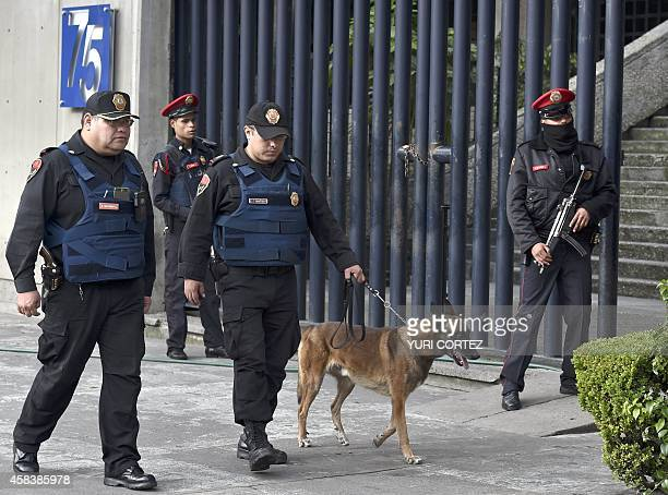 Police patrol outside the Deputy Attorney's Office Specialized in the Investigation of Organized Crime building where allegedly are detained the...
