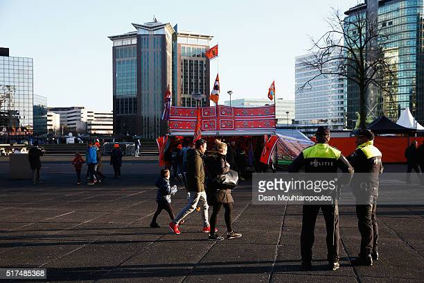 Police patrol outside the ground prior to the International Friendly match between Netherlands and France at Amsterdam Arena on March 25 2016 in...
