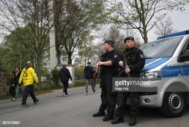 Police patrol outside the ground prior to the UEFA Champions League Quarter Final first leg match between Borussia Dortmund and AS Monaco at Signal...