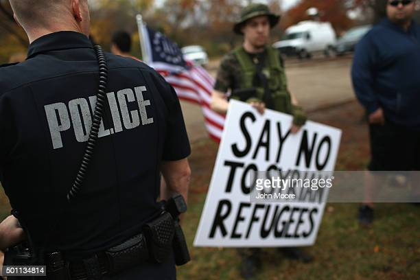 Police patrol the area where protesters from the socalled Bureau of AmericanIslamic Relations take part in a demonstration in front of the Islamic...
