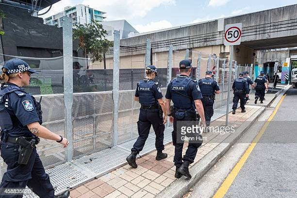 Police patrol the Brisbane Convention Exhibition Centre ahead of the G20 Leaders Summit on November 12 2014 in Brisbane Australia World economic...