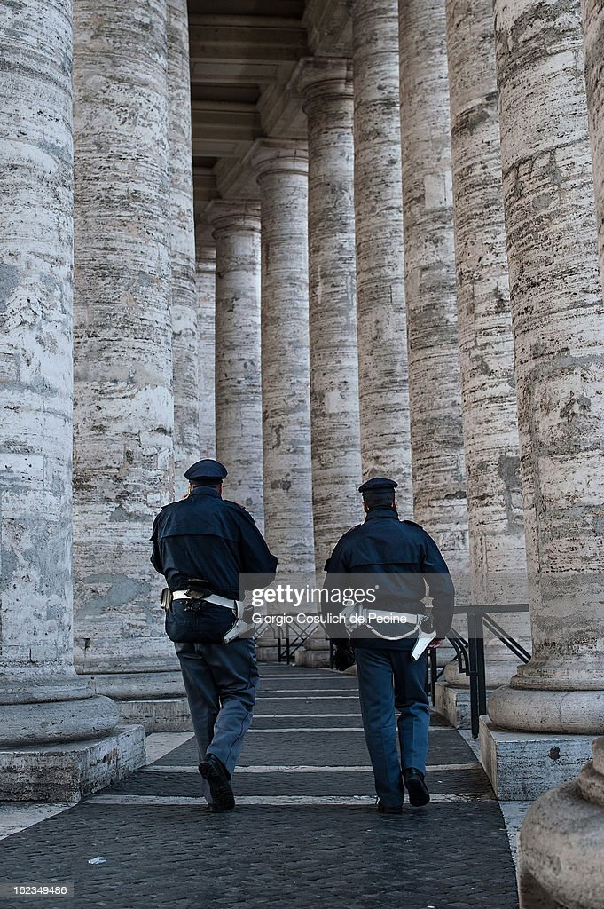 Police patrol the colonnade of St. Peters' Square on February 19, 2013 in Vatican City, Vatican. Pope Benedict XVI will hold his last weekly public audience on February 27 at St Peter's Square after announcing his resignation earlier last week.