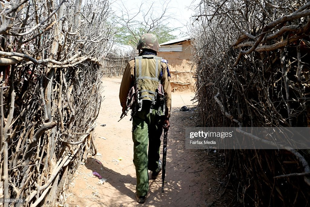 Police patrol the Dadaab refugee camp in Somalia July 16 2014 This is the largest refugee camp in the world with a population of 355000 people mostly...