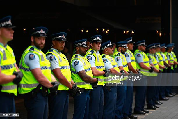 Police patrol the Sky City Convention Centre ahead of the TPP signing on February 4 2016 in Auckland New Zealand The signing ceremony marks the end...