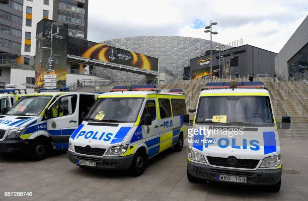 Police patrol the stadium ahead of the UEFA Europa League Final between Ajax and Manchester United at Friends Arena on May 23 2017 in Stockholm Sweden