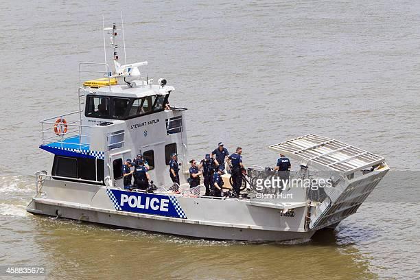 Police patrol the water ahead of the G20 Leaders Summit on November 12 2014 in Brisbane Australia Police patrol Brisbane river World economic leaders...