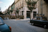 Police patrolling a road in the centre of Reggio Calabria where there are disturbances due to the decision taken by the Provincial Capital Reggio...