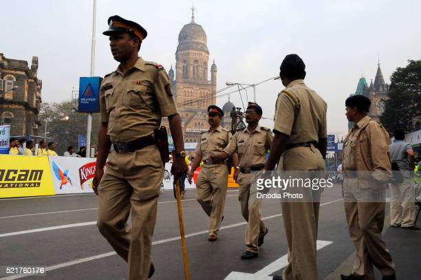 Police patrolling on street, Bombay Mumbai, Maharashtra, India