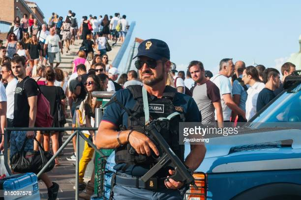 Police patrols Piazzale Roma to prevent dangerous situations during the Redentore Ceebrations on July 15 2017 in Venice Italy Redentore which is in...