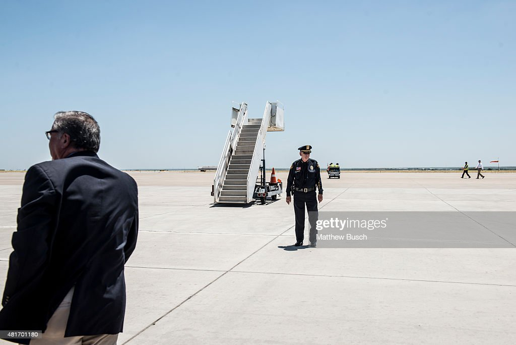 Police prepare the Laredo airport for the arrival of Republican Presidential candidate and business mogul Donald Trump during his trip to the border...