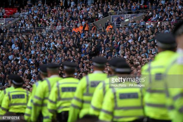 Police presence during the Emirates FA Cup Semi Final match at Wembley Stadium London