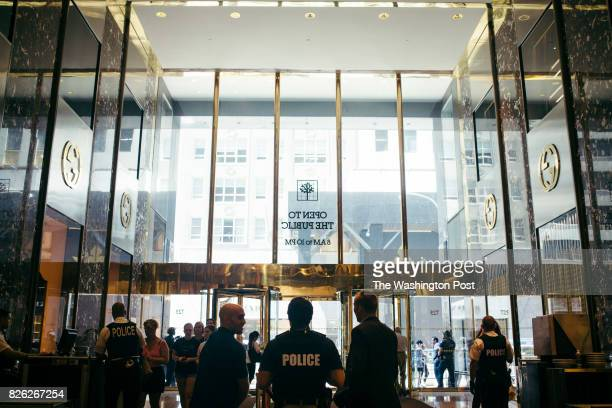 Police presence inside of Trump Tower in Manhattan New York on August 3 2017 John Taggart for The Washington Post via Getty Images