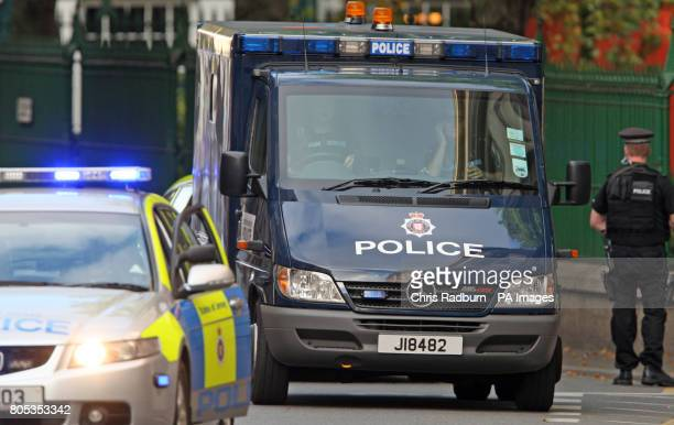 A Police Prison van carrying Curtis Warren from Liverpool arrives at The Royal Court in St Hellier Jersey