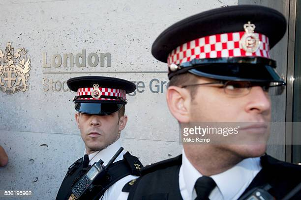Police protect the London Stock Exchange at Occupy London protest October 15th 2011 Protest spreads from the US with this demonstrations in London...