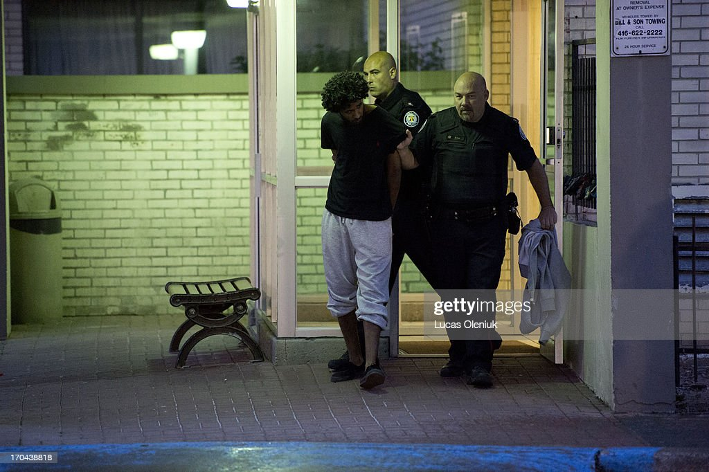 Police raided the apartments at 390 Kingsview on Thursday morning and arrested this man. Toronto Police launched a massive predawn raid on June 13, 2013, targeting guns and drugs. The focus is on the Toronto neighbourhood thats ground zero for the Mayor Rob Ford crack video scandal.