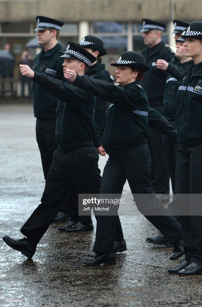 Police recruits participate in a passing out parade at Tulliallan Police College on March 8, 2013 in Tulliallan, Scotland. All eight Police Forces in Scotland will merge into a single service 'Police Scotland' on April 1, 2013 and today was the final passing out parade under the current eight force structure.