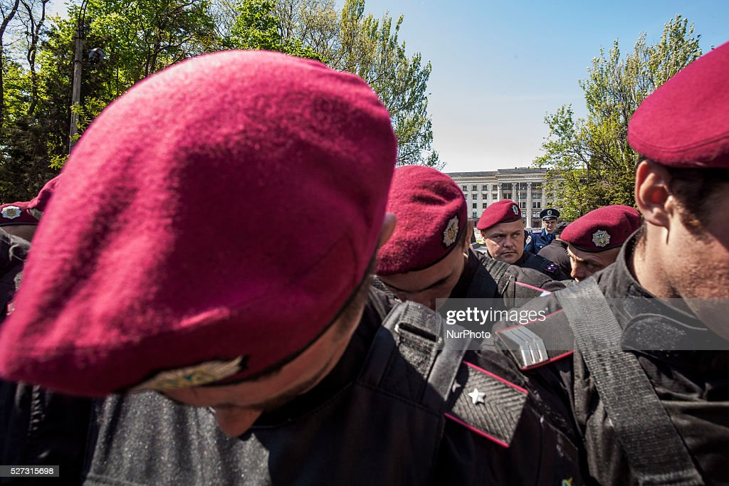 Police riot blocks the entrance of the Kulikovo Pole square during the remembrance of the deaths in the Trade Unions House clashes in Odessa, southern Ukraine, on May 2, 2016. The square was closed with strong security measures because a bomb threat.