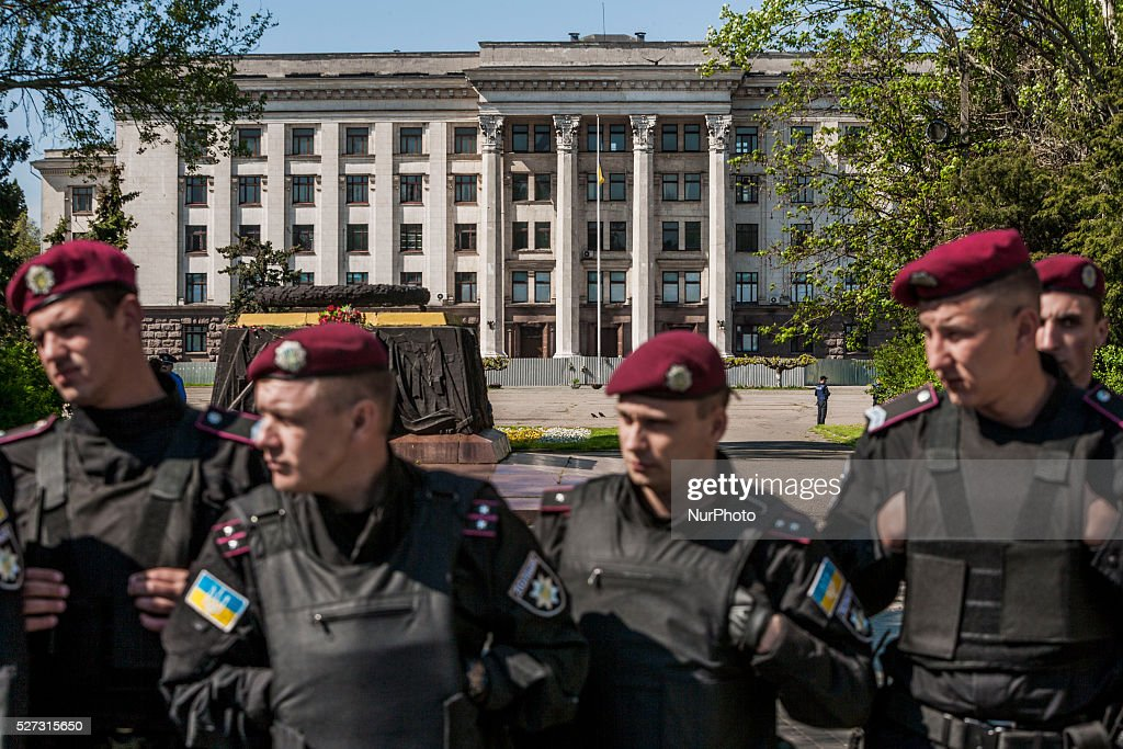 Police riot closed the access to Kulikovo Pole square in Odessa, southern Ukraine, on May 2, 2016, in remembrance of the dead people in the Trade Unions House clashes on 2nd of May on 2014.