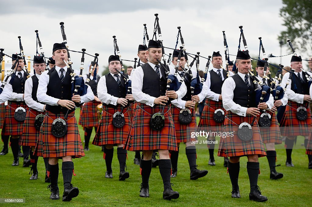 Police Scotland pipe band take part in 2014 World Pipe Band Championships grade one qualifiers at Glasgow Green on August 15 2014 in Glasgow Scotland...