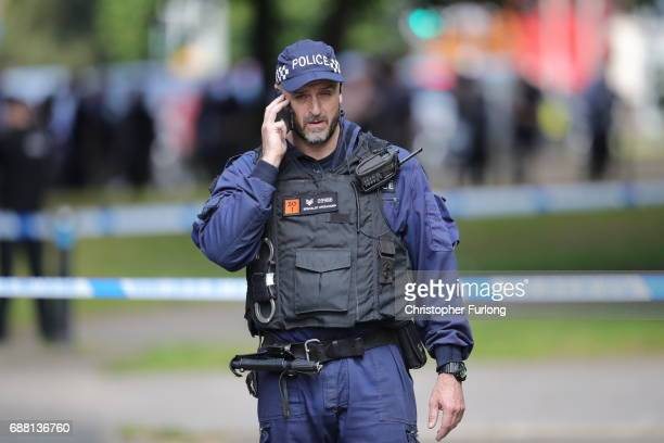 Police seal off Lindy Road Hulme Manchester as the Manchester attack investigation continues on May 25 2017 in Manchester England An explosion...