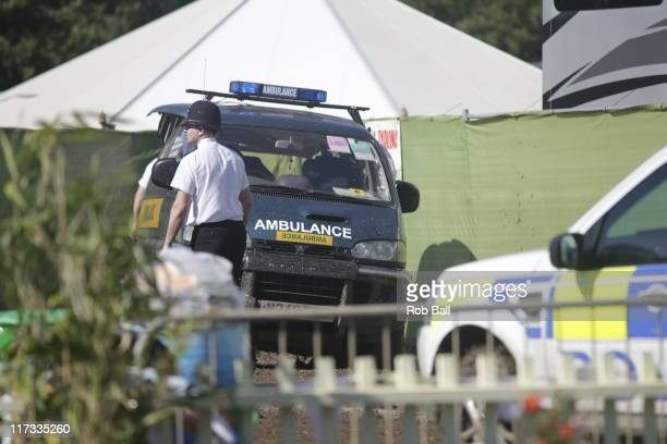 Police seal off part of the backstage VIP hospitality area at Glastonbury Festival on June 26 2011 in Glastonbury England