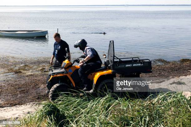 Police search for remains of Swedish journalist Kim Wall at the coast line on southern Amager on August 23 2017 in Copenhagen Denmark Police said at...
