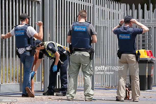 Police search patrons before entry into the Sterio Sonic music festival at Melbourne Showgrounds on December 5 2015 in Melbourne Australia A 25 year...